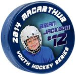 Custom 4 Color Process Digitally Printed Light Blue 4 oz Junior Hockey Pucks - DOUBLE SIDED PRINTING