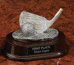 Custom Resin Golf Club Trophy in Pewter