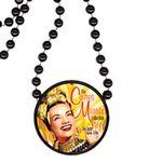 Custom Round Mardi Gras Beads with Inline Medallion - Black