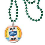 Custom Round Mardi Gras Beads with Decal on Disk - Green
