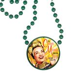 Custom Round Mardi Gras Beads with Inline Medallion - Green