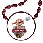 Custom Football Shaped Mardi Gras Beads with Inline Medallion