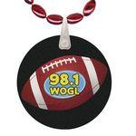 Custom Mini Football Shaped Mardi Gras Beads with UV Digital Imprint on Disk