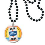 Custom Round Mardi Gras Beads with Decal on Disk - Black