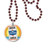 Custom Round Mardi Gras Beads with Decal on Disk - Burgundy