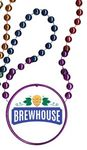 Custom Rainbow Mardi Gras Beads with Inline Medallion