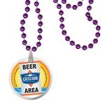 Custom Round Mardi Gras Beads with Decal on Disk - Purple