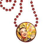 Custom Round Mardi Gras Beads with Inline Medallion - Red