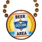 Custom Round Mardi Gras Beads with Inline Medallion - Orange