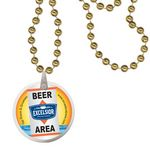 Custom Round Mardi Gras Beads with Decal on Disk - Gold