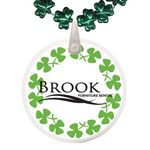 Custom Clover Shaped Mardi Gras Beads with Decal on Disk