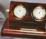 Custom Rosewood Clock and Weather Gauge w/ Pen Set
