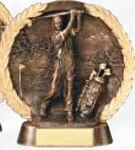 Custom High Relief Bronze Resin Circular Plate Award (Golf/ Male)