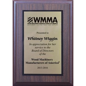 "Standard Simulated Walnut Plaque w/ Sublimated Imprint - 1 Color (5""x7"")"