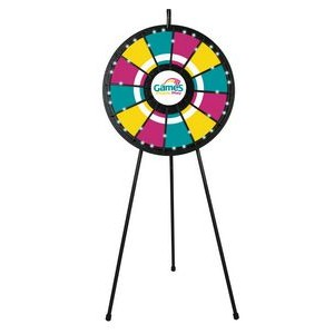 12-Slot Black Floor Stand Prize Wheel Game with Lights