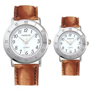 Leather Band Watch with Roman Numeral Case / Bezel