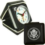 Custom Closable Folding Travel Alarm Clock with Snooze-BLACK