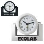 Custom Standard Swivel Analog Desk Clock-SILVER