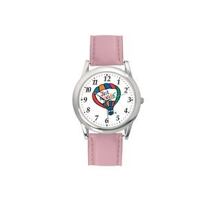 Ladies Pink Leather Strap Watch