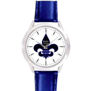 Unisex Royal Blue Leather Band Watch
