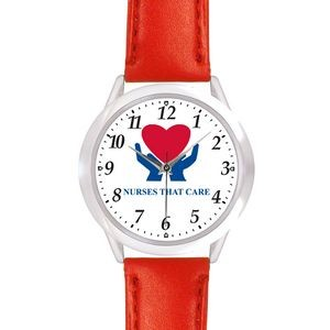 Unisex Red Leather Band Watch