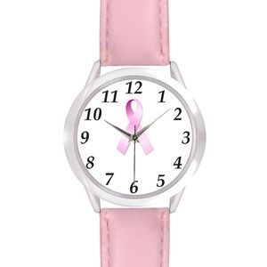 Unisex Pink Leather Band Watch