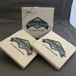 Custom Tumbled Stone Coaster / Snow White Marble Set of 2 in Printed Box