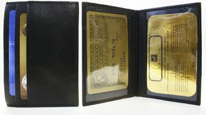 Lambskin Double ID Passcase Holder w/ 3 Credit Card Pockets