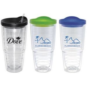 Double Wall Acrylic Cup with Straw/ 24 Oz. - Clear Body with Lid