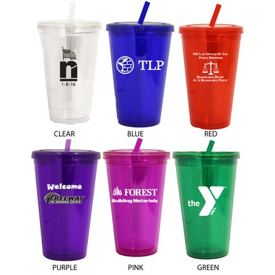 16 Oz. Acrylic Double Wall Drink Cup with Straw