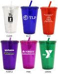 Custom 16 Oz. Acrylic Double Wall Drink Cup with Straw
