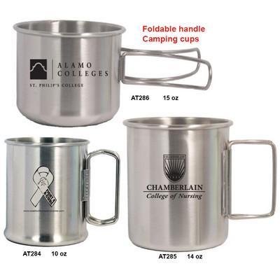 Stainless Steel Camping cup/bowl w/foldable handle, 3 sizes