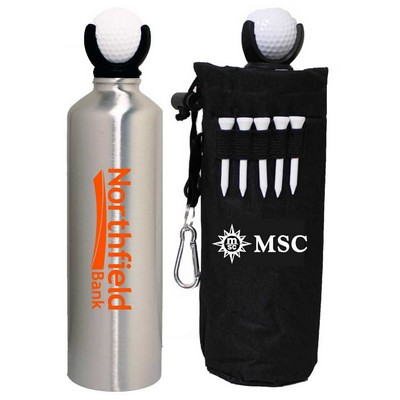 22 Oz. Stainless Steel Water Bottle with Golf Ball & Tees