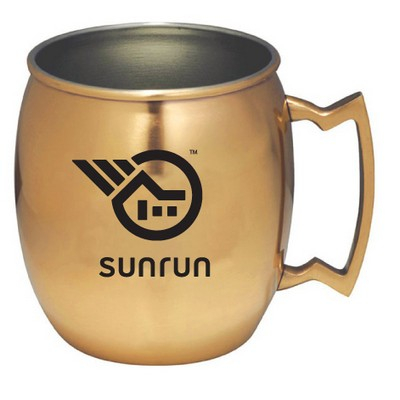 14 Oz. Stainless Steel Moscow Mule Mug w/ Built In Handle, Copper Coated