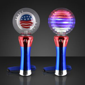 Custom Light Up Spinning American Flag Wand