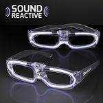 Custom Flashing White Light Up 80s Style Shades with Sound Reactive LEDs