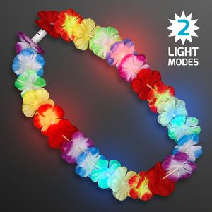 Custom LED Rainbow Flower Lei Party Necklaces