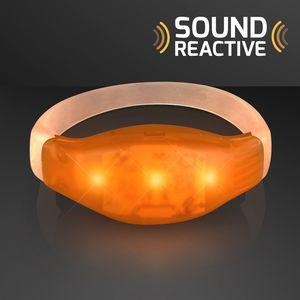 Custom Sound Activated Light Up Orange LED Flashing Bracelets