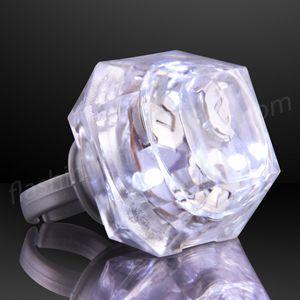 Custom White Princess Cut Huge Diamond Lighted Ring