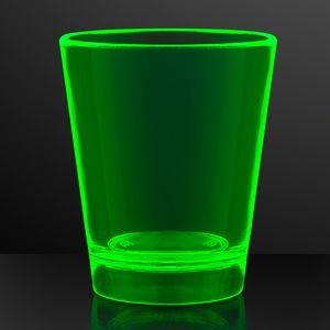 Custom 1.5 oz. UV Reactive Green Glow Shot Glasses
