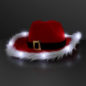 Custom Cowboy Santa Claus Christmas Hat, White Light Fur Trim