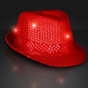 Custom Shiny Red Fedora Hat w/ Flashing Lights