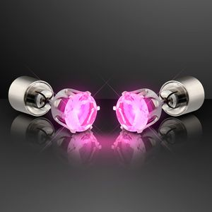 Custom LED Faux Pink Diamond Pierced Earrings