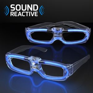 Custom Sound Reactive Lights Blue Party Shades, 80s Style