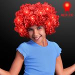 Custom Light Up Red Afro Wig w/Flashing LEDs