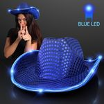 Custom Blue Cowboy Hat w/Blue Lights Brim