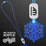 Custom Neon Look Necklace Blue LED Lanyards with Acrylic Snowflake Pendants