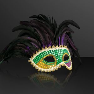 Custom Venetian Face Mask w/Deluxe Feathers (NON-Light Up)