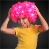 Custom 70's Style Pink Afro Wig w/ Flashing LED's