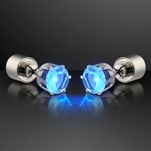 Custom Blue LED Faux Sapphire Pierced Earrings